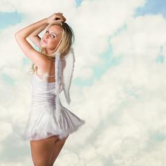 beautiful sexy woman as white snow angel