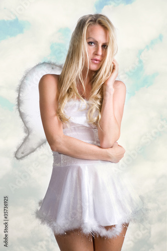 beautiful sexy woman as white snow angel