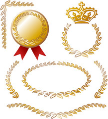vector set: calligraphic elements and medal