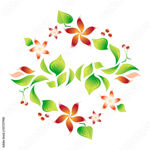 Element of an ornament with foliage, red flowers and cherry 6