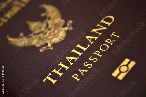 Close-up of Thailand passport book