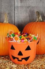 candy filled halloween pumpkin bucket