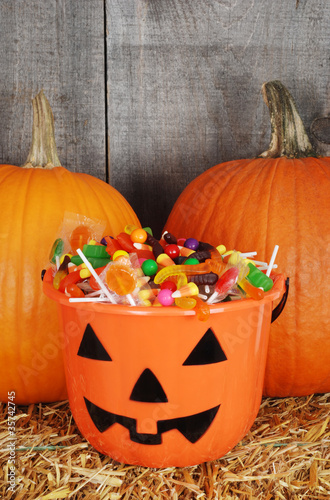 candy filled halloween pumpkin bucket