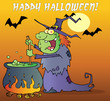 Happy Halloween Over A Witch Stirring A Potion Under Bats