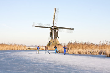 Ice skating in the Netherlands in winter