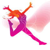 The dancer. Colorful silhouette with lines and sprays on abstrac