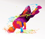 The dancing boy with colorful spots and splashes. Vector