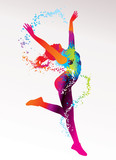 Fototapety The dancing girl with colorful spots and splashes on a light bac