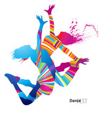 Fototapety Two dancing girls with colorful spots and splashes on white
