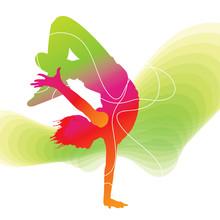 Dancer. Silhouette colorée avec des lignes sur fond abstrait