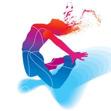 Le danseur. Silhouette colorée sur fond abstrait. Vecteur