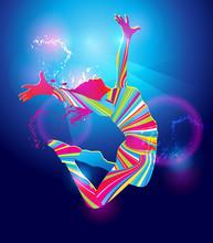 La fille de danse coloré sur fond bleu. Vecteur