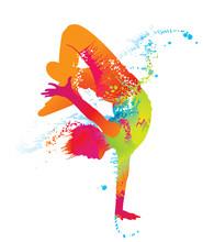 Le garçon danse avec des taches colorées et éclaboussures. Vecteur