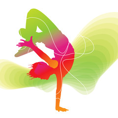 Dancer. Colorful silhouette with lines on abstract background
