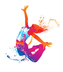 The dancing girl with colorful spots and splashes on white