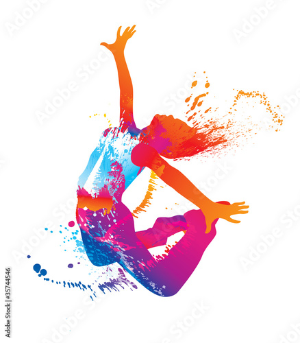 The dancing girl with colorful spots and splashes on white - 35744546