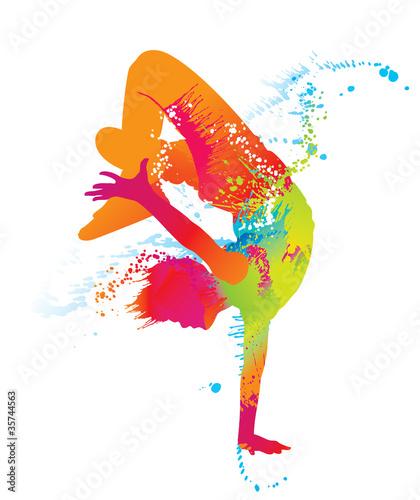 Tańczący chłopiec z kolorowymi plamami i plamami. Wektor