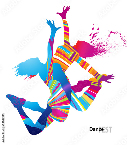 Two dancing girls with colorful spots and splashes on white