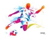 Piłkarz kopnie piłkę. Kolorowe ilustracji wektorowych