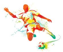 Piłkarz kopie piłkę. ilustracji wektorowych.