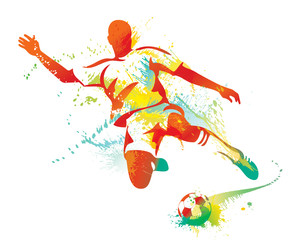 Soccer player kicks the ball. Vector illustration.