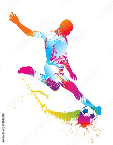 Zdjęcia na płótnie, fototapety, obrazy : Soccer player kicks the ball. Vector illustration.