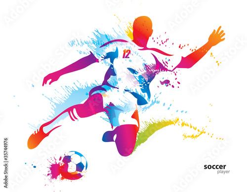 Soccer player kicks the ball. The colorful vector illustration