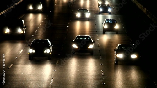 Traffic at night in Los Angeles
