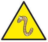 Hazard sign with a worm in it