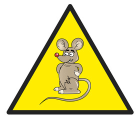 Hazard sign with a mouse in it