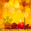 christmas golden snowflake with red candles