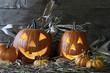 Halloween pumpkins in the barn