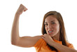 Teenage girl showing her muscle and toughness