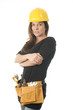 female worker carpenter builder with tool belt and hard hat helm