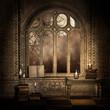 Ciemny pokój retro z książkami i świecami