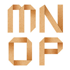 M,N,O,P Origami alphabet letters from recycled paper with clippi