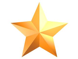 gold shiny star on white