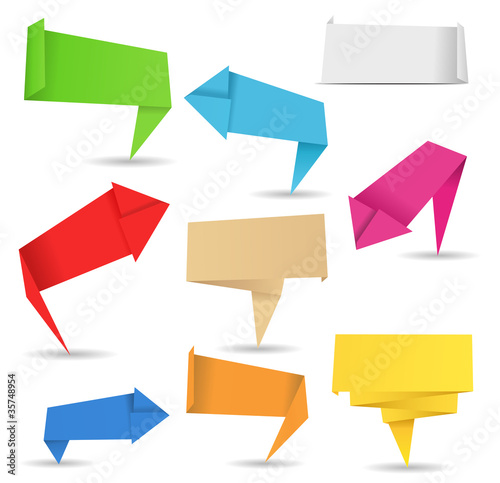 Vector origami arrows and banners