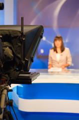 Reporter presenting news