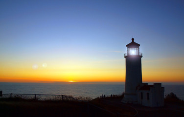 Light Shining in the North Head Lighthouse at Sunset