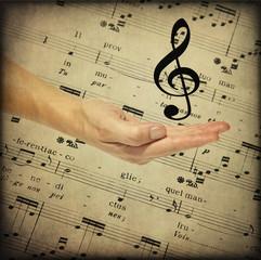 Spartito musicale, mano, chiave di violino