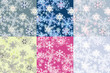 Color options seamless patterns from snowflakes.