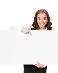 Businesswoman showing blank signboard, on white