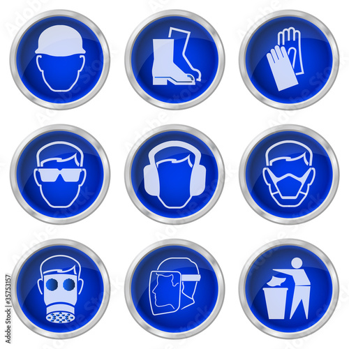 Shiny construction health and safety buttons