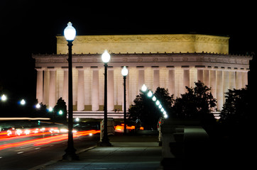 Abraham Lincoln Memorial in night, Washington DC USA