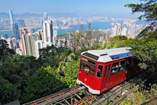"Постер, картина, фотообои ""Tourist tram at the Peak, Hong Kong"""