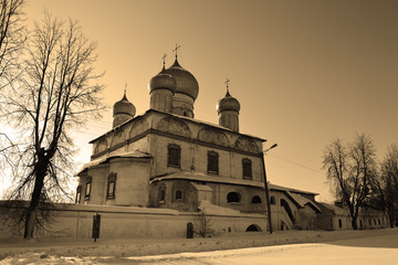 Old church in Veliky Novgorod. Sepia.