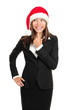 christmas business woman thinking looking to side