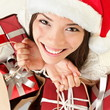 Christmas gifts santa woman shopping