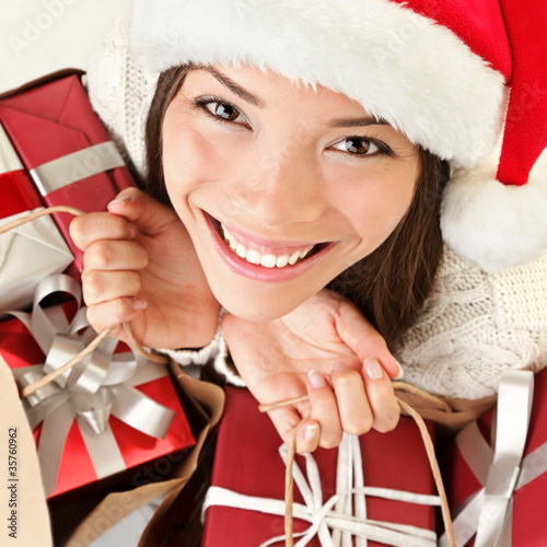 Christmas gifts santa woman shopping